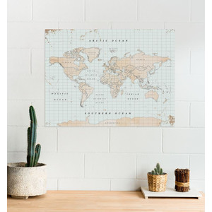 Miss Wood Mappa del Mondo Woody Map Watercolor Vintage XL