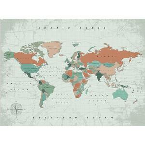 Miss Wood Weltkarte Woody Map Watercolor Terracotta XL