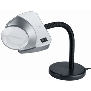 Schweizer Magnifying glass Lupenleuchte Tech-Line LED TISCHFUSS Bifo 6500K, 2x/3X, Ø120/31,5mm, bifokal, bikonvex