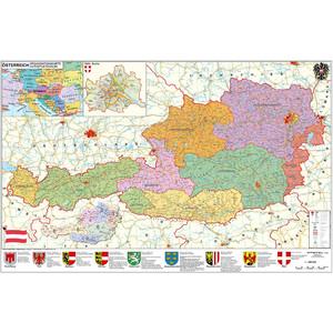 Stiefel PLZ- & Organisationskarte Österreich politisch mit Metallleisten