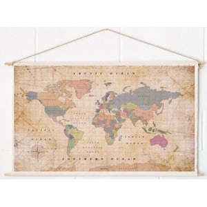 Miss Wood Mappa del Mondo Woody Cotton Map Oldschool