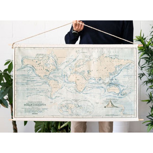 Miss Wood Mappa del Mondo Woody Cotton Map Oceans