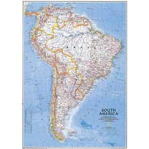 National Geographic Mappa Continentale Sud America, politica, grande