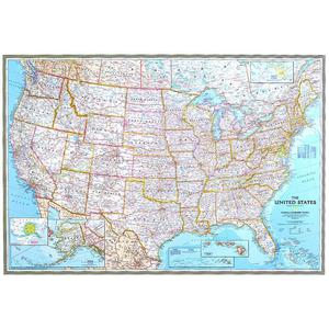 National Geographic The USA map politically, largely laminates