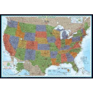 National Geographic Mappa Carta decorativa degli USA, politica, grande, laminata