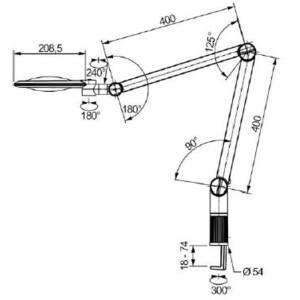 Eschenbach Lente d`Ingrandimento Lupenleuchte varioLED+, 6D, 2,5x, Ø132mm, AA70mm