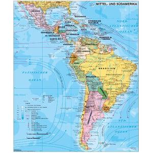 Stiefel Kontinent-Karte Mittel- und Südamerika politisch (97x119)