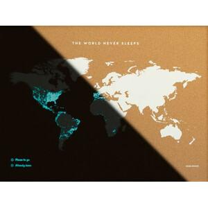 Miss Wood Weltkarte Woody Map Fluor L