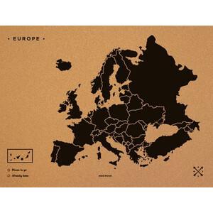 Miss Wood Kontinent-Karte Woody Map Europa schwarz 90x60cm