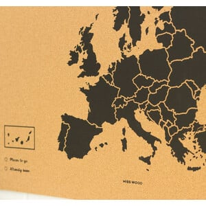 Miss Wood Mappa Continentale Woody Map Europe black L
