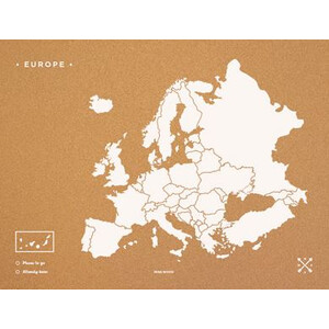 Miss Wood Mappa Continentale Woody Map Europa weiß 60x45cm