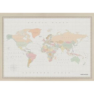 Miss Wood Mappa del Mondo Woody Map Watercolor Colonial XL
