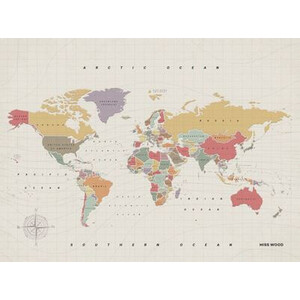 Miss Wood Mappa del Mondo Woody Map Watercolor Tropical XL