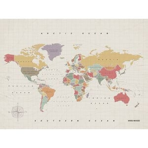 Miss Wood Woody Map Watercolor Tropical XL