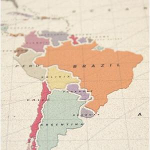 Miss Wood Mappa del Mondo Woody Map Watercolor Tropical L