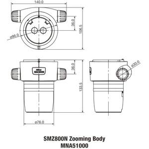 Nikon SMZ-800N Stereo Zoom Head, bino, 10-80x, click stop, ratio 8:1, 64 mm, 20°, WD 78 mm