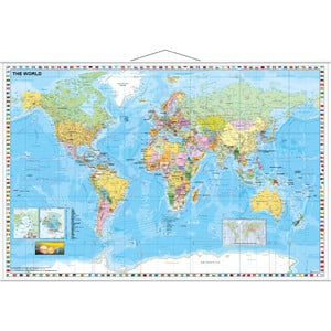 Stiefel Mappa del Mondo politisch mit Flaggenrand (137x89)