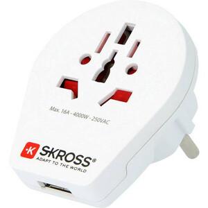 Skross Fuente energética Reiseadapter World to Europe mit USB