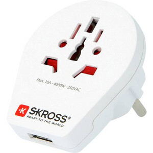 Skross Trasformatore Reiseadapter World to Europe mit USB