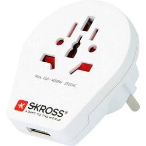 Skross Trasformatore Reiseadapter World to Europe mit USB