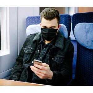 Masketo Mascarilla para boca y nariz de algodón en negro