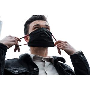 Masketo Mascarilla para boca y nariz de algodón en negro, 5 unidades