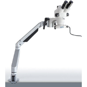 Kern Microscopio stereo zoom OZM 983, trino, 7-45x, HSWF 10x23 mm, Gelenkarm-Stativ, Feder, Tischklemme, Ringlicht LED 4.5W