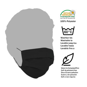 Masketo Mascherina naso/bocca nera in poliestere 5 pezzi