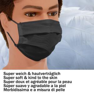 Masketo Mascherina naso/bocca nera in poliestere per bambini 5 pezzi
