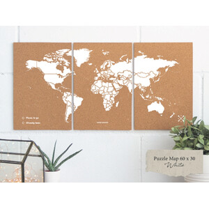 Mappemonde Miss Wood Puzzle Map M - White