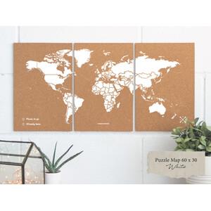 Miss Wood Mappa del Mondo Puzzle Map M - White
