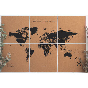 Miss Wood Mappa del Mondo Puzzle Map XL - Black