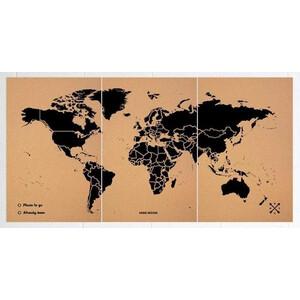 Miss Wood Weltkarte Woody Map Natural Cork XXXL black