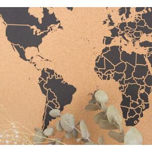 Miss Wood Mappa del Mondo Woody Map Natural Cork XXXL black