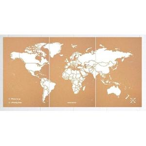 Miss Wood Weltkarte Woody Map Natural Cork XXXL white