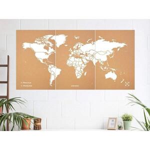 Miss Wood Mappa del Mondo Woody Map Natural Cork XXXL white