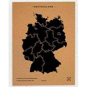 Miss Wood Landkarte Woody Map Countries Deutschland Cork L black