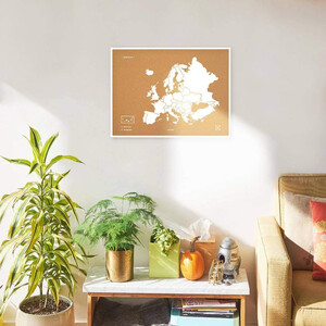 Miss Wood Kontinent-Karte Woody Map Europa weiß 90x60cm gerahmt