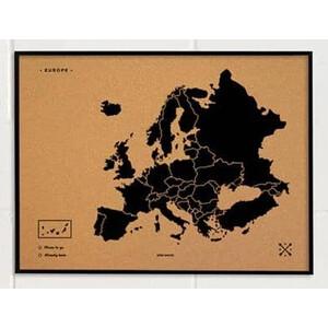Miss Wood Kontinent-Karte Woody Map Europa schwarz 90x60cm gerahmt