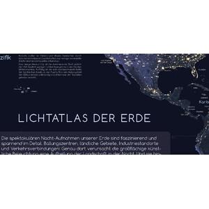 Astronomie-Verlag Poster Die Erde bei Nacht und Sternwarten der Welt