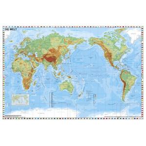 Stiefel Weltkarte Welt physisch pazifikzentriert mit Flaggenrand (98x68)