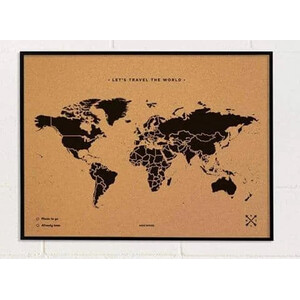 Miss Wood Mappa del Mondo Woody Map Natural Cork L black