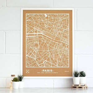 Miss Wood Mappa Regionale Woody Map Natural Paris XL White