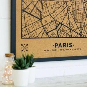Miss Wood Mappa Regionale Woody Map Natural Paris XL Black