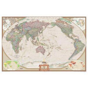 National Geographic Mappa del Mondo Planisfero antico centrato sul Pacifico, laminato