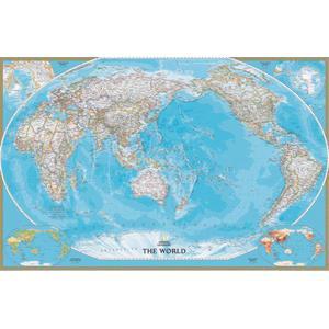 National Geographic Mappa del Mondo Planisfero classico centrato sul Pacifico, laminato