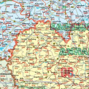Bacher Verlag Landkarte Postleitzahlenkarte Deutschland