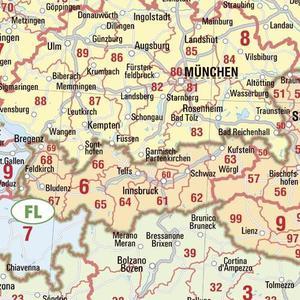 Bacher Verlag Kontinent-Karte Postleitzahlenkarte Europa