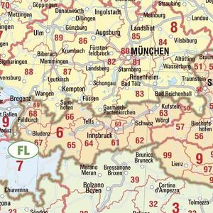 Bacher Verlag Postleitzahlenkarte Europa groß