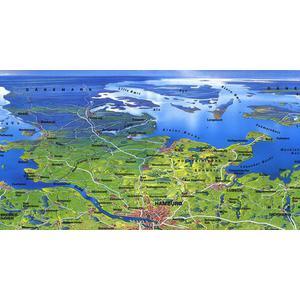 Bacher Verlag Panorama grande de Alemania, mapa original de MAIR